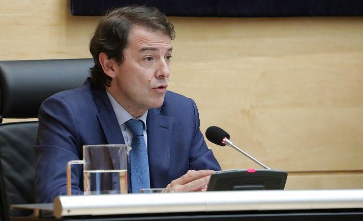 Fernández Mañueco, en su comparecencia este jueves en las Cortes. /Jta.