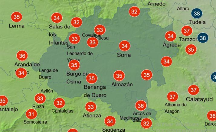 Temperaturas a las 15:00 horas. /AEMET