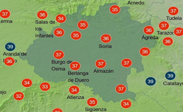 Mapa de temperaturas a las 15:00 horas. /AEMET