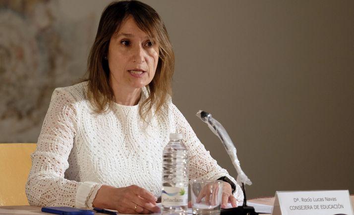 Las soriana Rocío Lucas, consejera de Educación, este lunes en comparecencia informativa. /Jta.