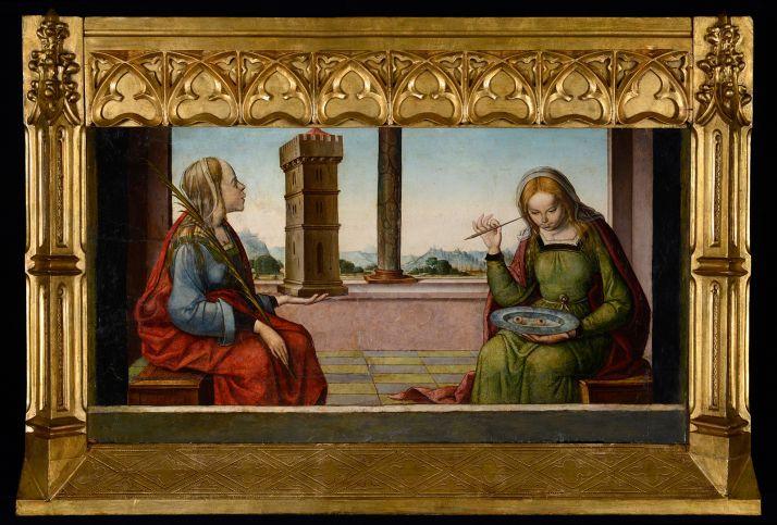 Una tabla que representa a Santa Lucía y Santa Bárbara que se incluye en la muestra. /Jta.