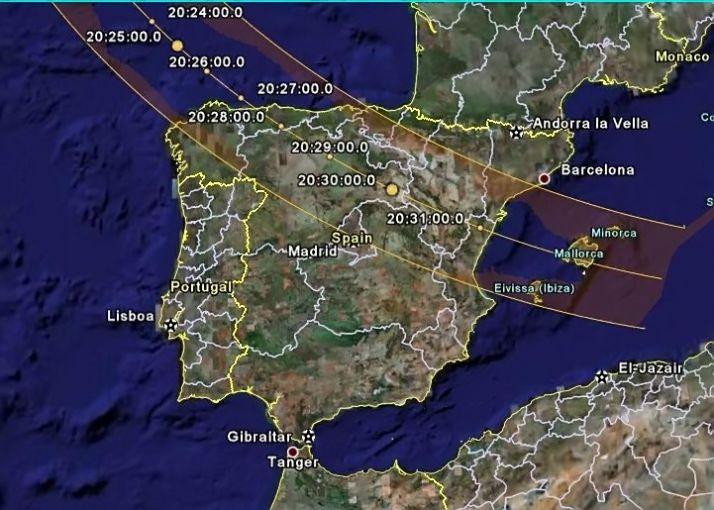 Trayectoria del próximo eclipse solar. /OSAE
