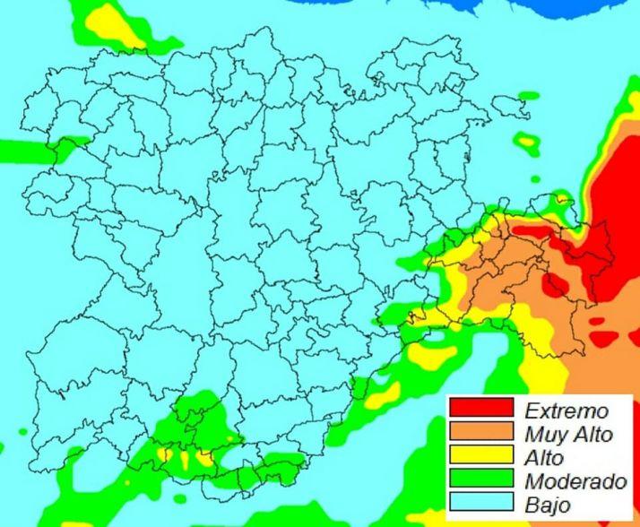 Mapa descriptivo del riesgo de incendios para este 22 de agosto.