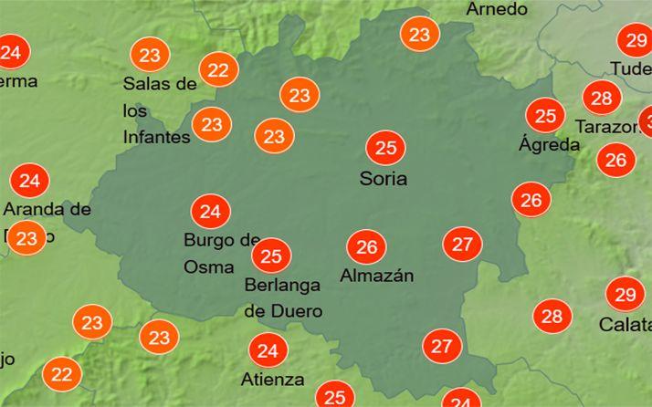Temperaturas a las 14:00 horas. /AEMET