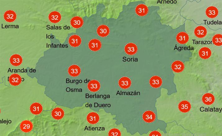 Sensación térmica a las 15:00 horas de este martes. /AEMET