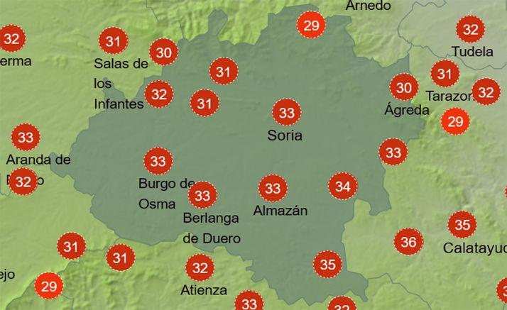 Sensación térmica a las 15:00 horas. /AEMET