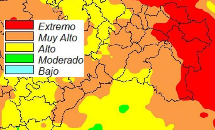 El mapa con los niveles de riesgo. /AEMET