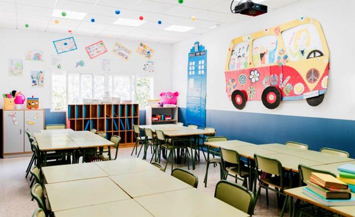 Un aula de Educación Primaria sin alumnado.