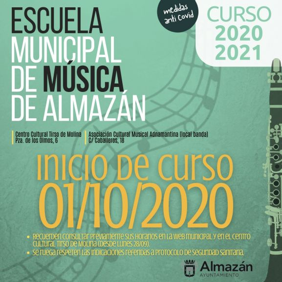 La Escuela Municipal de Música de Almazán comienza el curso el uno de octubre