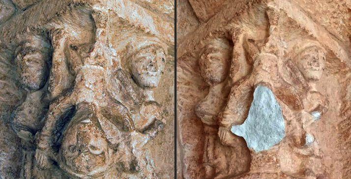 Antes y después del capitel tras el ataque vandálico. /DOS