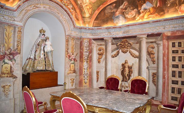 Camarín ya restaurado del antiguo templo de La Merced, ahora convertido en el Aula Magna Tirso de Molina. /Dip.