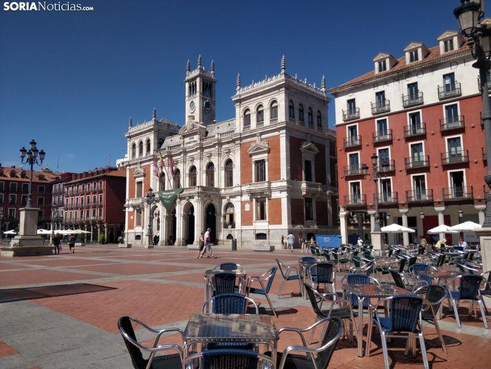 La plaza Mayor de Valladolid estos días.