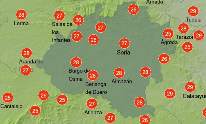 Mapa con las temperaturas a las 15:00 horas. /AEMET