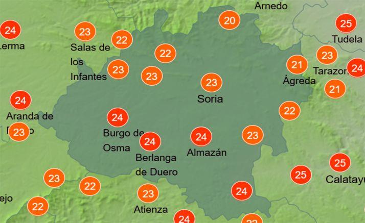 Temperaturas a las 14:00. /AEMET