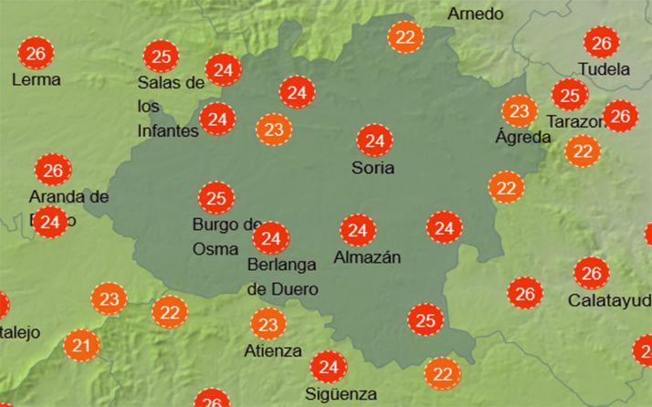 Sensación térmica a las 16:00 horas. /AEMET