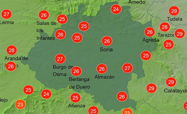 Previsión de las temperaturas a las 16:00 horas. /AEMET