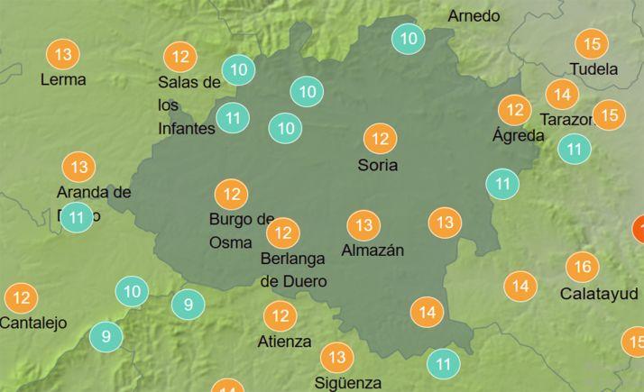 Previsión térmica a las 14:00 horas. /AEMET