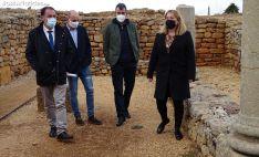 Jiménez (dcha.), Guillén, Soria y Serrano esta tarde en el yacimiento de Numancia. /SN