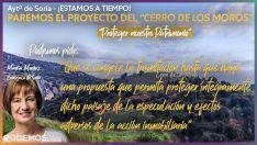 Podemos pide 'congelar' los trámites urbanísticos del Cerro de los Moros