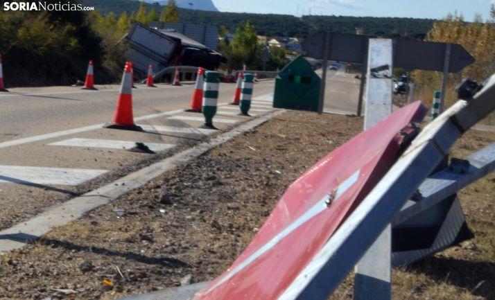 Siniestro de un vehículo la pasada semana en la N-234 cerca de la capital soriana. /SN