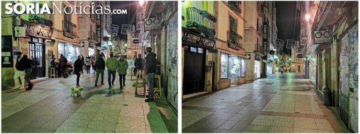 Foto 1 - Toque de queda: mejor dos imágenes que mil palabras, con cinco minutos de diferencia