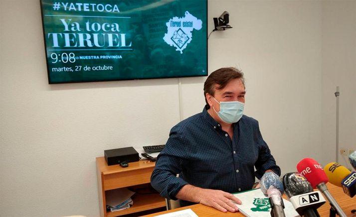 Tomás Guitarte, diputado de Teruel Existe, en rueda de prensa. /TE