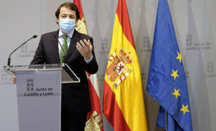 Fernández Mañueco en la rueda informativa hoy, tras la reunión de presidentes. /Jta.