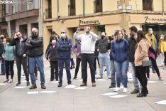 Concentración por la reapertura de los gimnasios en Soria.