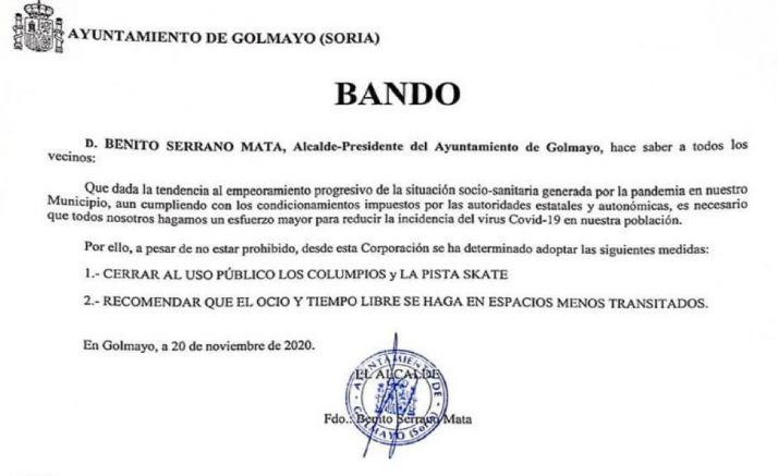 El bando emitido por la Alcaldía de Golmayo. /SN