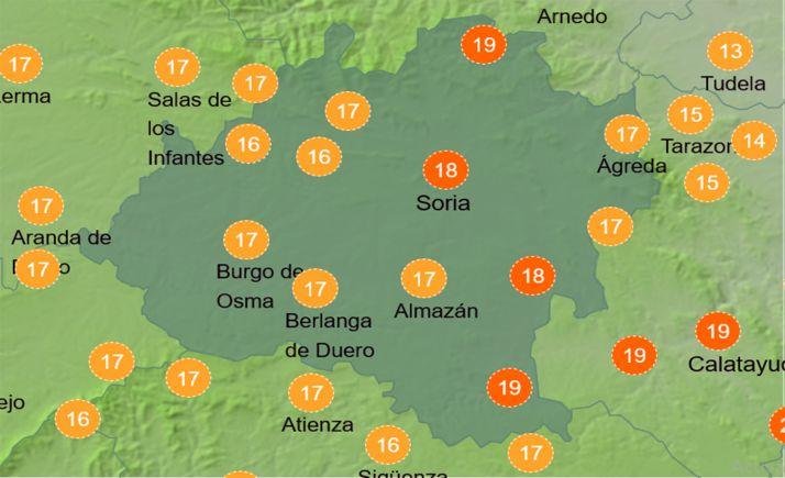 Sensación térmica a las 14:00 horas de este miércoles. /AEMET