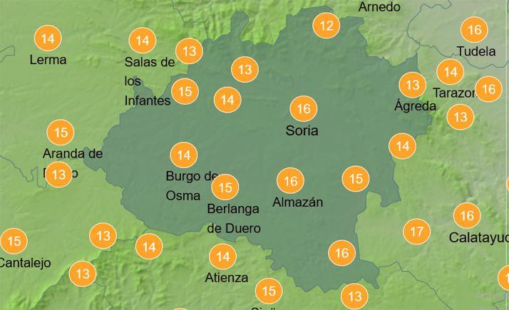 Mapa con las temperaturas para las doce del mediodía de este jueves. /AEMET