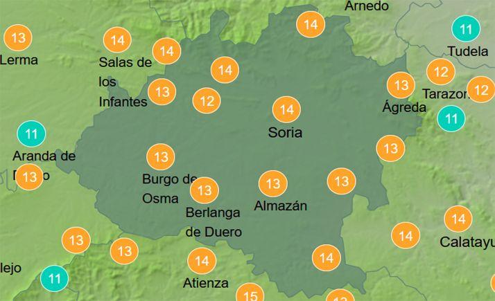 Previsión de las temperaturas a las 13:00 horas. /AEMET