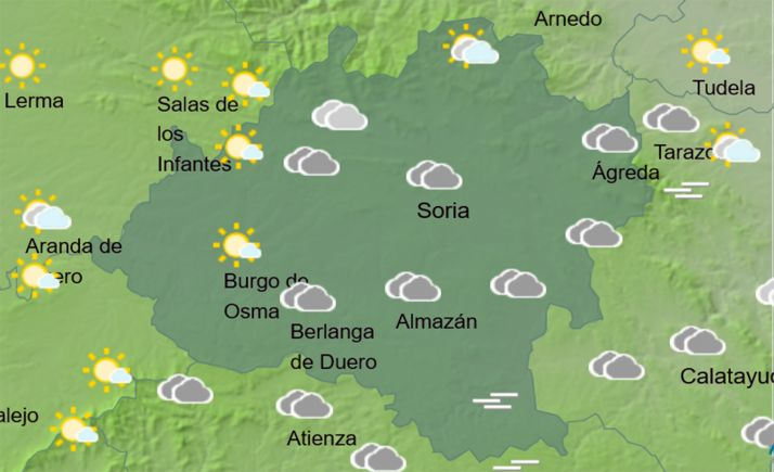 El cielo en la provincia a las 12:00 horas. /AEMET