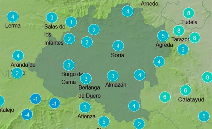 Mapa con las temperaturas a las 11:00 horas. /AEMET