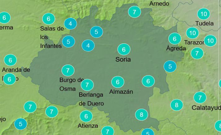 Mapa de temperaturas a las 12:00 horas. /AEMET
