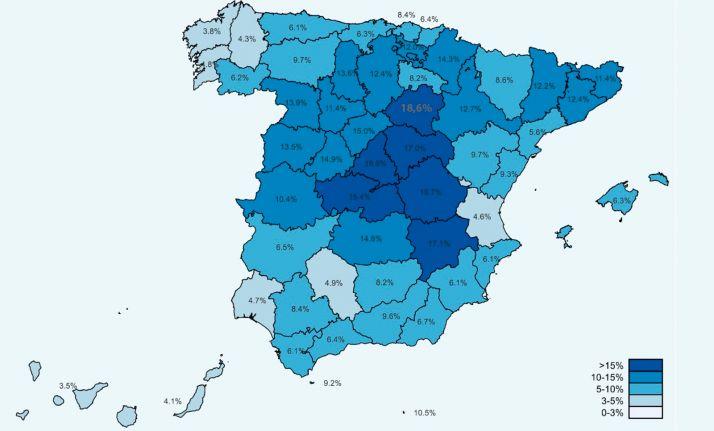 Mapa con los indicadores de seroprevalencia en España.