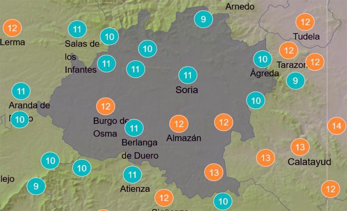 Mapa de la provincia con las temperaturas a las 13:00 horas. /AEMET