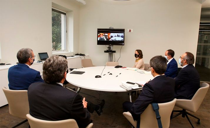 Representantes ministeriales en la reunión mantenida con el alcalde de Soria.