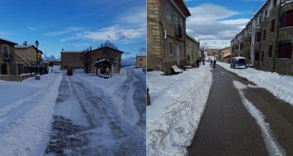 El trabajo en equipo funciona contra la nieve en Cabrejas del Pinar