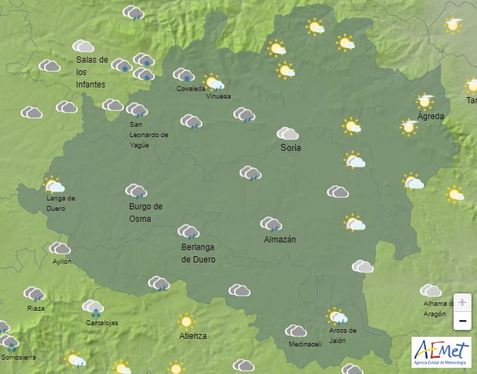 El tiempo en Soria: aviso naranja por viento y lluvias intermitentes para hoy