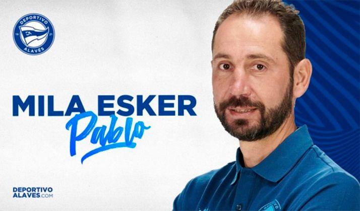 Imagen en la que el club vitoriano agradece ('mila esker') los servicios del entrenador soriano. /CDA
