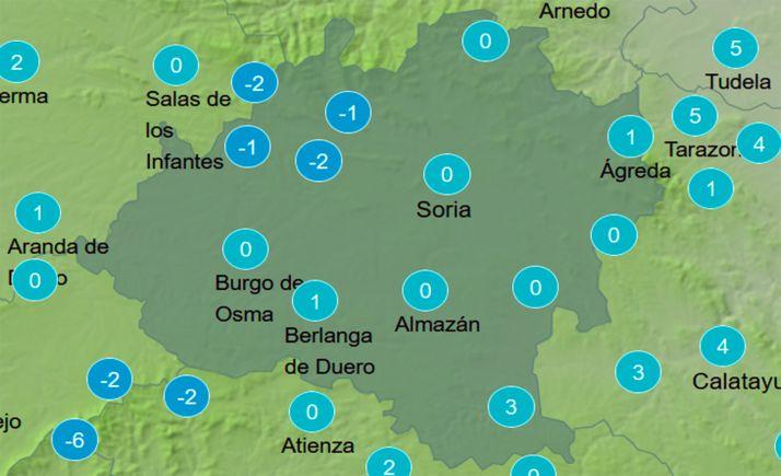 Mapa con el cielo en la provincia a las 13:00 horas. /AEMET