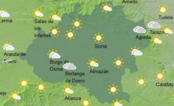 Previsión del cielo a las 14:00 horas. /AEMET