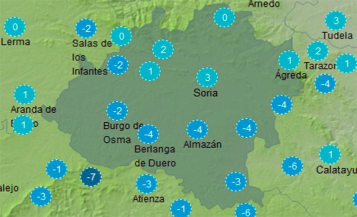 Mapa con la sensación térmica a las once de la mañana de hoy. /AEMET