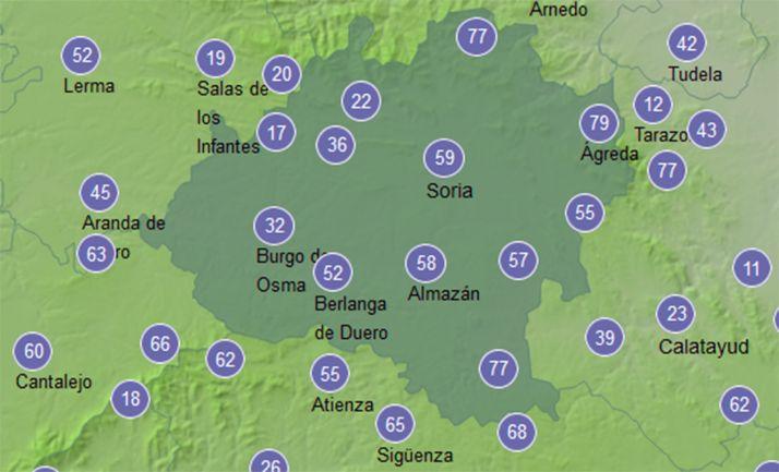 Mapa con la velocidad de las rachas de viento a las 13:00 horas. /AEMET