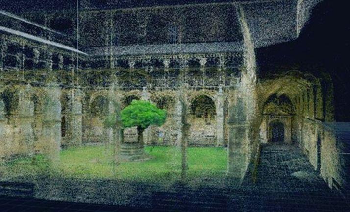 Escaneado láser claustro gótico Monasterio S. Zoilo, en Carrión de los Condes (Palencia). /Jta.