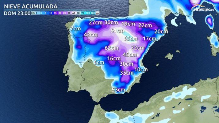 Previsión de acumulación de nieve para el domingo. /eltiempo.es