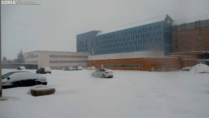 Una imagen del hospital durante el pasado temporal Filomena. /SN