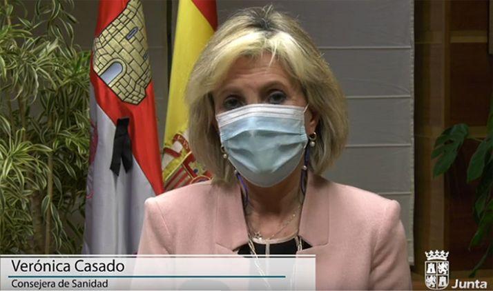 Verónica Casado en sus declaraciones tras la reunión de esta tarde. /Jta.