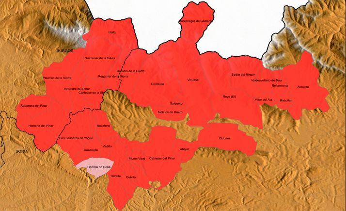 Mapa del área de acción de Asopiva.